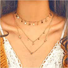 Cathercing Fashion Elegant Multilayer Small Star Pendant Chain Vintage Charm Handmade Adjustable Jewelry Simple Chic Cute Necklaces for Women For Shooting Collocation (5)