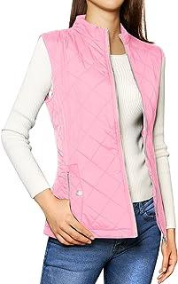 Allegra K Women's Stand Collar Lightweight Gilet Quilted Zip Vest Pink Medium