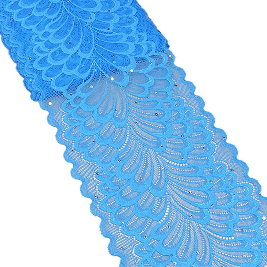 5 Yards Peacock Lace Ribbon with Sequins Stretch Floral Tulle Lace Trim Elastic Webbing Fabric Width 7 inch for DIY Jewelry Making Craft Gift Wrapping Wedding Party Decor (Sky Blue)