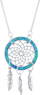 Sterling Silver Created Blue Opal Dreamcatcher 16+2