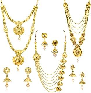 Sukkhi Ethnic Gold Plated Kundan Multi-String Set of 3 Necklace Combo for Women (SKR48716)