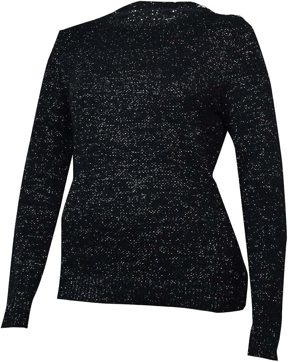 Charter Club Women's Metallic Shimmer Textured Crewneck Sweater