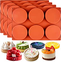 Funshowcase Round Disc Baking Silicone Mould 6-Cavity, 3inch, Circle Epoxy Resin Tray, Chocolate Cake Pie Custard Tart Muffin Sandwiches Eggs Bakeware, Soap Concrete Cement Plaster Pan, 4-Bundle