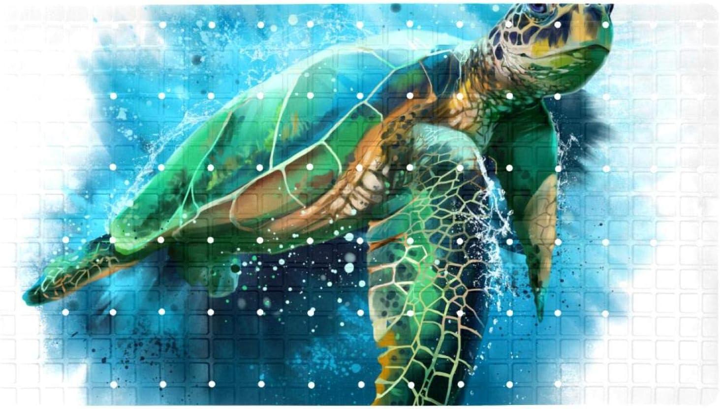 Bath Tub Shower Mat 15.7x27.9 inches Watercolor Turtle Sea Max 50% OFF Ranking TOP17 P Big