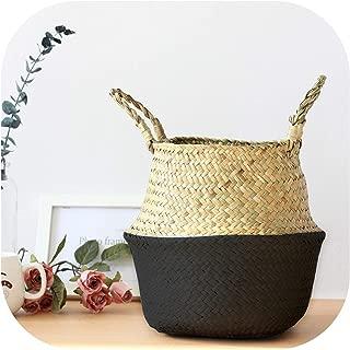 TOKYO HOT Xs,S,M,L Seagrass Foldable Wickerwork Basket Rattan Hanging Flower Pot Planter Woven Dirty Laundry Hamper Storage Home Decor,Black,M(27Cmx26Cm)