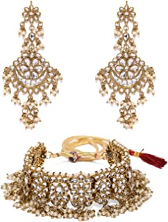 Zaveri Pearls Traditional Kundan & Pearls Necklace Set For Women-ZPFK9097