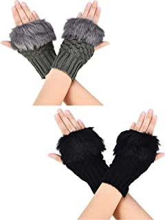 2 Pairs Fingerless Winter Gloves Short Touchscreen Gloves Thumb Hole Mittens Knitted Warm Gloves with Faux Fur