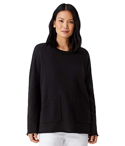 Eileen Fisher Organic Cotton French Terry Crew Neck Boxy Tunic (Black) Women