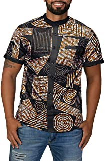 Mens African Print Shirts Casual Button Up Shirts Tribal Dashiki Short Sleeve Banded Collar T-Shirts