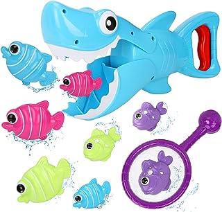 Bammax Juguetes Bañera, 10 pcs Peces Marinos Juguetes de Baño Bebe, Plastico Juego de Ducha Bebe, Juego de Pesca Piscina N...