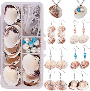SUNNYCLUE 1 Box DIY 8 Set Starfish Seashell Clam Shell Pearl Necklace Earring Jewelry Making Starter Kit Scallop Beach Sea Shell Beads Charm Gemstone Beads for Art Craft Projects