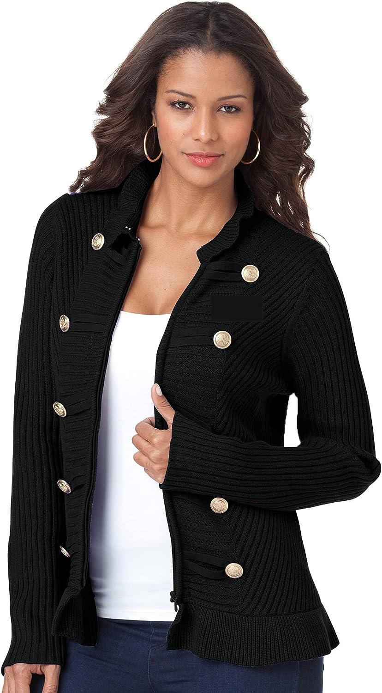 Roamans Women's Plus Size Military Cardigan Sweater