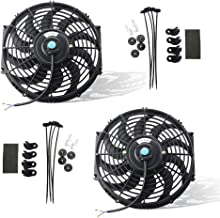 MOSTPLUS Black Universal Electric Radiator Slim Fan Push/Pull 12V + Mounting Kit (12 Inch) Set of 2