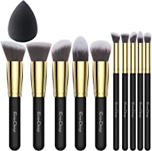 EmaxDesign Make up Brushes 10+1 Pieces Makeup Brush Set, 10 Pieces Professional Foundation Blending Blush Eye Face Liquid Powder Cream Cosmetics Brushes & 1 Piece Black Beauty Sponge Blender With Bag