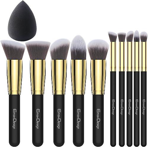 EmaxDesign 10+1 Pieces Makeup Brush Set, 10 Pieces Professional Foundation Blending Blush Eye
