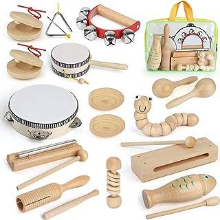 AILUKI Lot de 21 instruments de musique en bois pour enfants