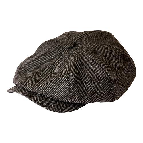 1754350df26 Gamble and Gunn  Shelby  Newsboy Grey Herringbone Cap