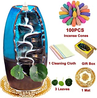 XinXu Incense Burner, Backflow Waterfall Incense Burner, Home Decor Aromatherapy Ornament with 100 Pcs Incense Cones,Cushion, Artificial Lotus Leaf