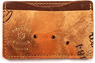 Fielders Choice Goods Brown Credit Card Holder Baseball Glove Leather Wallet Credit Card Case Holder for Men and Women