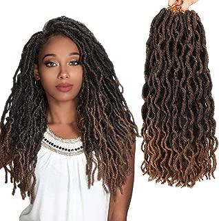 LEEONS 6Packs/Lot 18'' Nu Locs Boho Locs Wavy Faux Locs Crochet Synthetic Braiding Hair Pre-loop Crochet Braids Soft Curly Faux Locs Hair Extensions Braids Dreadlocks 20Roots/PCS(18inch,#T-30)