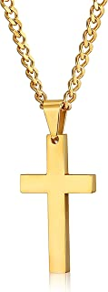 Stainless Steel Cross Pendant Necklace for Men Women Curb Chain, 22,24 Inches