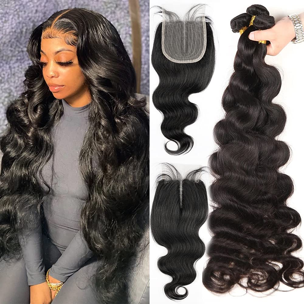 Brazilian Spring new work one after another Body Wave Virgin Hair Closure Bundles Lace Middle with Topics on TV