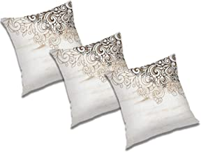 RADANYA Floral Printed Polyester Cushion Cover (24x24 Inch; Ivory) - Set of 3 Pcs