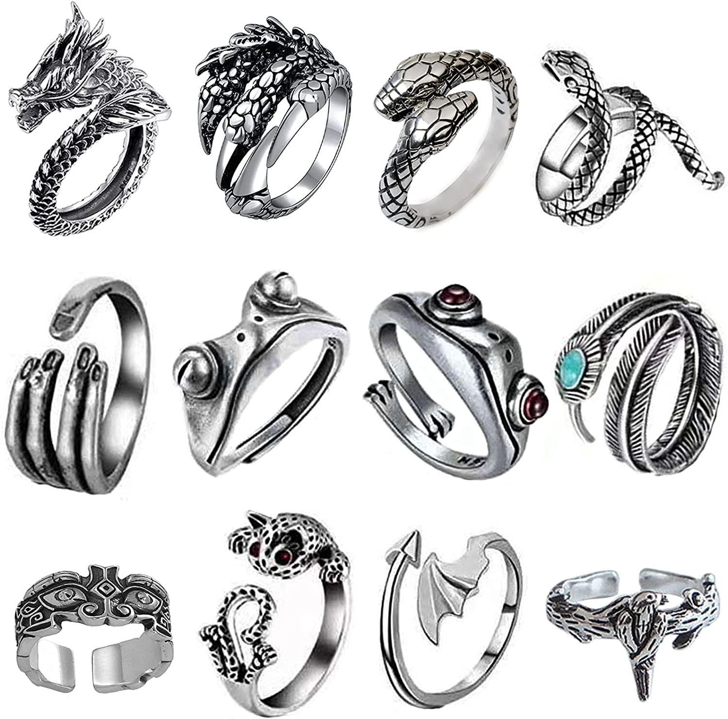 Silver Plated Vintage Open Frog Animal Retro Max 78% OFF Cute Snake Rings Super popular specialty store