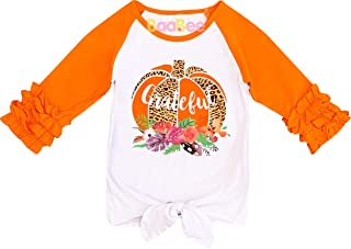 Baby Toddler Little Girls Fall Winter Holidays Halloween Thanksgiving Christmas Ruffles Raglan T-Shirt Fashion Tee Top