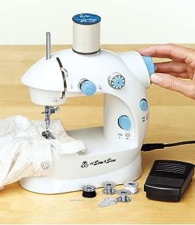 MICHLEY LSS-202 Lil' Sew & Sew Mini 2-Speed Sewing Machine, White