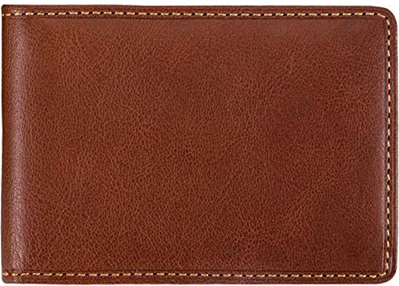 Mens Minimalist Money Clip Bifold ID Wallet Credit Card Holder Italian Leather
