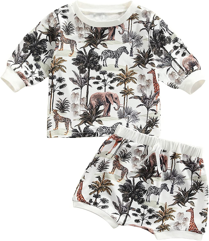 Newborn Baby Boy Clothes Fall Winter Cute Animal Print Long Sleeve T Shirt Romper + Pants 2Pcs Toddler Boy Outfits