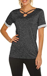 Yogo Tops for Women Criss Cross Wicking Workout Shirt for Gym Sport Activewear