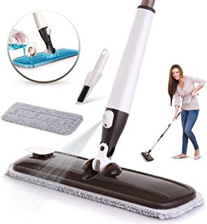 Spray Mop Floor Cleaning - Ideal for Tile, Hardwood & Stone Floors - Wet, Dry & Dust Mopping Cleaner - Absorbent Microfiber Pad Cloth - Quality Spraying Nozzle - Innovative Slim Design Concealed Tank