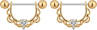 Forbidden Body Jewelry 14g-16g Surgical Steel & Gold Plated CZ Crystal Lacey Partial Nipple Shield Filigree Barbell Set