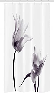 Ambesonne Black and White Stall Shower Curtain, Close up Digital Saturated Tulip Petals with Minimalist Faded Effect, Fabric Bathroom Decor Set with Hooks, 36 W x 72 L inches, Black and White