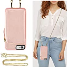 ZVE Case for Apple iPhone 6s Plus and iPhone 6 Plus, 5.5 inch, Leather Wallet Case with Crossbody Chain Credit Card Holder Slot Zipper Pocket Case for Apple iPhone 6s / 6 Plus 5.5 - Rose Gold