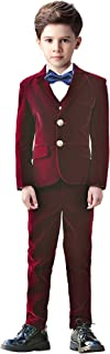 5 Piece Boys Suits Set Kids Formal Velvet Suit with Blazer Vest Pants Shirt and Bow Tie