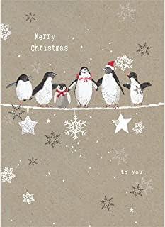 Tree-Free Greetings Holiday Greeting Cards, Penguin Merry Christmas, Vintage Brown Recycled Paper, Boxed Note Card Set, 10-Pack (HB93309)