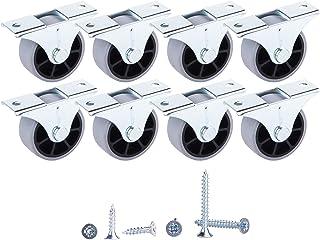 Juego de 8 ruedas de goma de 40 mm, ruedas de movimiento suave con placa de montaje de metal con tornillos para muebles (8, 40 mm de diámetro, 45 kg)