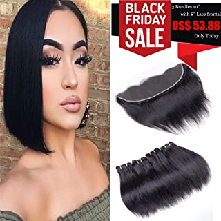 Brazilian Virgin Hair Straight With Lace Frontal Human Hair 3 Bundles With Lace Frontal Closure Ear to Ear Unprocessed Short Human Hair Weaves 50g/pc(10 10 10+Frontal 8)