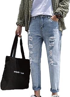Generic11 Jeans Casual da Uomo Pantaloni Strappati Multi Stagione Primavera Pantaloni Larghi e Dritti in Denim Anti sbiadi...