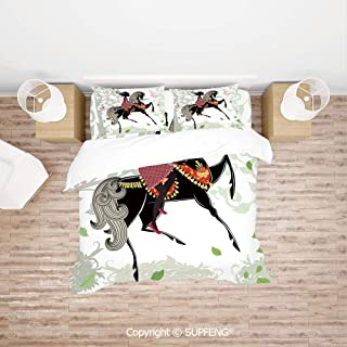 SCOXIXI Bed Cover Set Spring Inspired Art Composition Girl on Pony with Ornaments Leaves Butterflies (Comforter Not Included) Soft, Breathable, Hypoallergenic, Fade Resistant