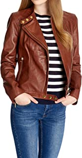 Kingdom Leather New Women Motorcycle Lambskin Leather Jacket Coat Size XS S M L XL XW128