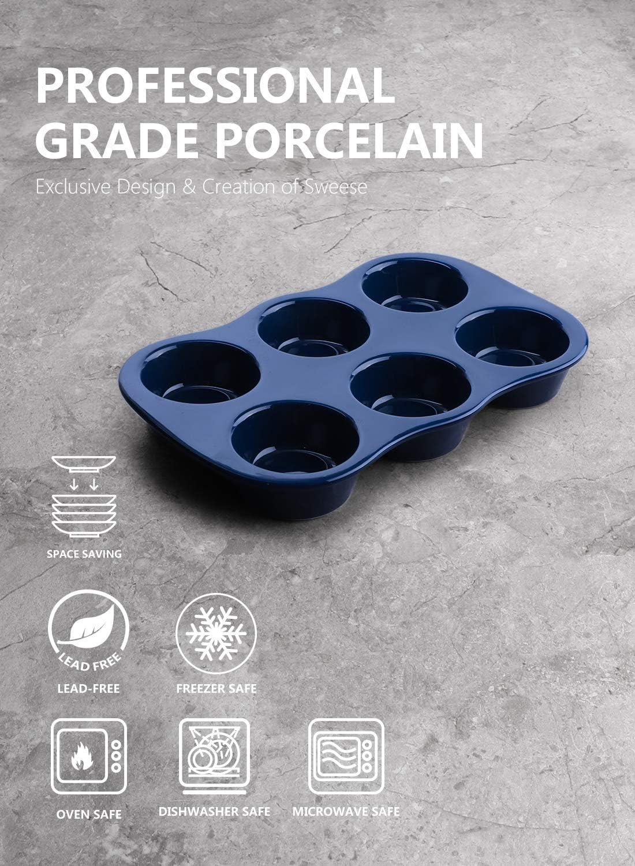 Antihaft Muffinform aus Porzellan Wei/ß Sweese 517.103 Muffin Backblech f/ür 6 Muffins Cupcakes 30.5 x 19 cm Pudding Backform f/ür Muffins