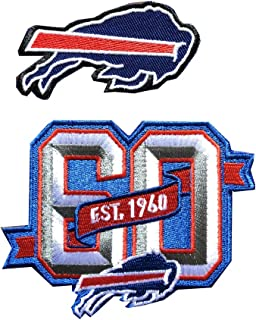 Hipatch Buffalo Bills 60th Anniversary Embroidered Patch Iron on Logo Vest Jacket Cap Hoodie Backpack Patch Iron On/sew on Patch Set of 2Pcs