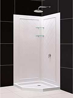 DreamLine 38 in. x 38 in. x 76 3/4 in. H Neo-Angle Shower Base and QWALL-4 Acrylic Corner Backwall Kit in White, DL-6045C-01