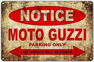 Moto Guzzi Motorcycles Bikes Only All Others Will Be Towed Parking Lámina de Metal Retro para Bodega de Bodega casera Tienda de decoración del hogar
