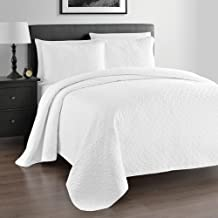 Cozy Beddings Zaria Quilted Coverlet Set - Oversized 3-Piece Quilt Sets with Elegant Stitched Pattern - Wrinkle Resistant- 1 Bedspread & 2 Shams - King/Cal King, White