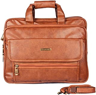 Handcuffs Laptop Messenger Bag 17 Inch Expandable Leather Office Bag for Men and Women